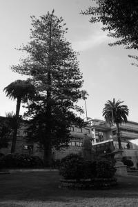 Parece que el hoy conocido como Hotel Pazo los Escudos fue diseñado por el arquitecto vigués Antón Román Conde a encargo de la familia Sensat, y construido a mediados del siglo XX en el lugar de Roade.